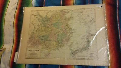 Map of China and Japan 1875 Keith Johnston Hand Colored Antique