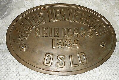Antique Maritime Brass Ship Sign No. 463 1934 A/s Akers Mek Verksted Norway