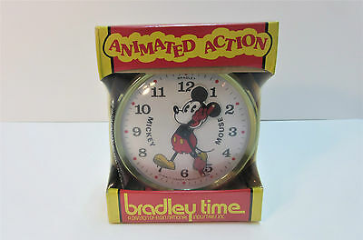 Bradley Animated Action Disney Mickey Mouse Clock Mint In Sealed Boxed.