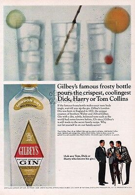 1966 Gilbey's Gin Dick Harry Tom Collins cocktail FUN Vintage Print Ad