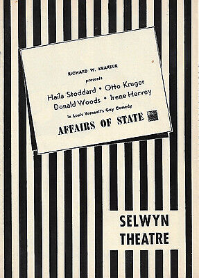 """Otto Kruger """"AFFAIRS OF STATE"""" Haila Stoddard / Verneuil 1953 Chicago Playbill"""