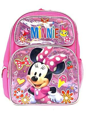 "New Disney Minnie Mouse Shine Pink Girls 16"" Large School  Backpack"