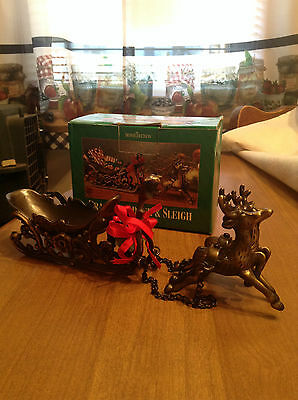 Vintage HomeTrends Brass Reindeer & Sleigh With Antique Finish - In Box