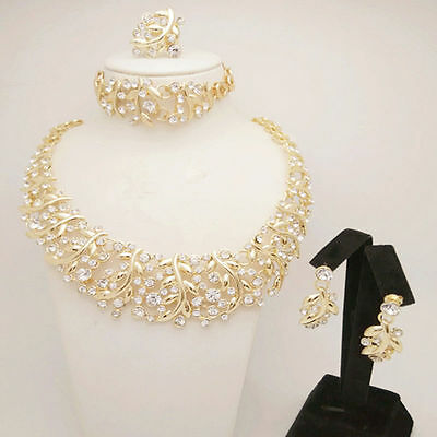 Rhinestone Gold Plated Fashion Women Necklace Earring Party Jewellery Set