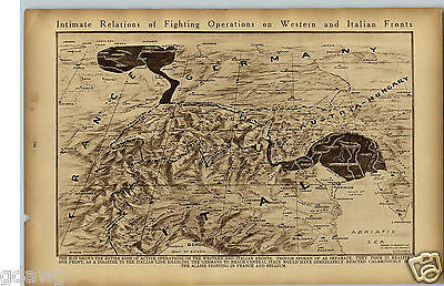 1919 Map Showing Western Italian Fronts Allied Fight WWI World War I Rotogravure
