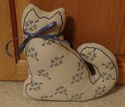 Cloth Fabric Kitty Cat Blue Hearts Crossed Stitched on the Front, Country Décor