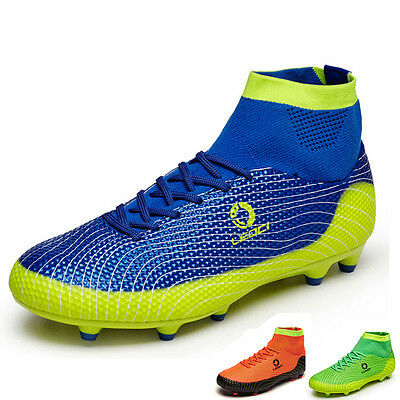 New Soccer Shoes AG Football Boots Diamond High Top Cleats Green Orange Blue