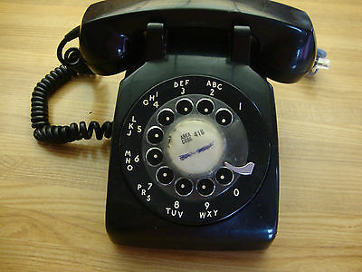 Vintage 1956 Northern Electic Black Rotary Desk Telephone Made In Canada