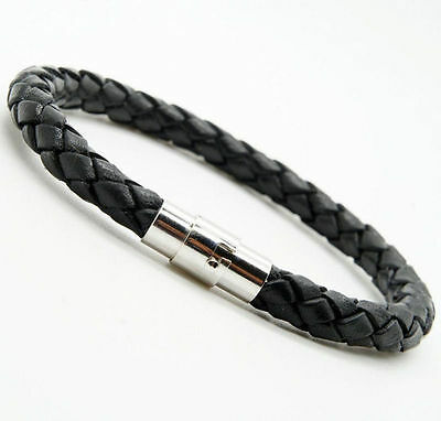Fashion Unisex Women Men Braided Leather Steel Magnetic Clasp Bracelet Handmade