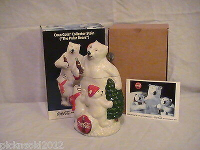 "*OBO* 1996 Coca-Cola Polar Bears Collector Stein Item 4444 9"" tall w/ Box"