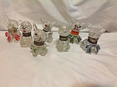 Lot 0f 7 Vintage Antique Glass Bonzo Dog inkwell 1930's INKWELL
