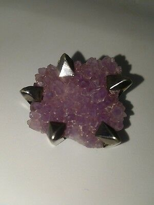 AMYTHEST GEODE Sterling Spiked Prong Brutalist PIN Brooch Mid Century