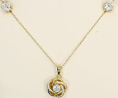 Amazing CZ Yellow Gold over Sterling Silver Earrings & Pendant by GIANI BERNINI