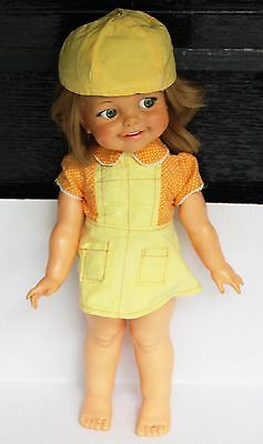 Vintage Ideal Corp 1966 Blonde Blue Googly Flirty Giggle Eyed Eyes Tall Doll 18""
