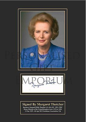 Margaret Thatcher Signed Printed Autograph A4