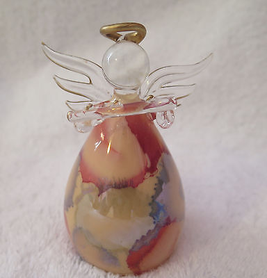 RUSS BERRIE GLASS ANGEL CHRISTMAS TREE ORNAMENT Playing Flute, Iridescent color