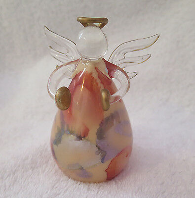RUSS BERRIE GLASS ANGEL CHRISTMAS TREE ORNAMENT Playing Cymbals Iridescent color