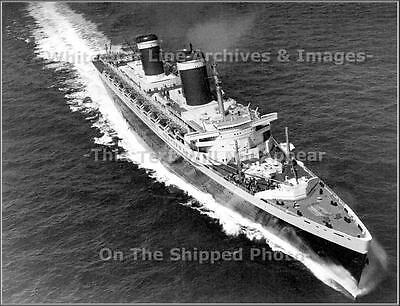 Photo: Aerial:  SS United States During Blue Riband Run, English Channel, 1952