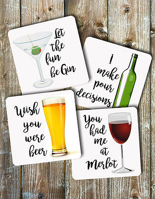Novelty Coasters Set of 4 Alcohol Puns Funny Gift Ideas Barware Drinks Mat