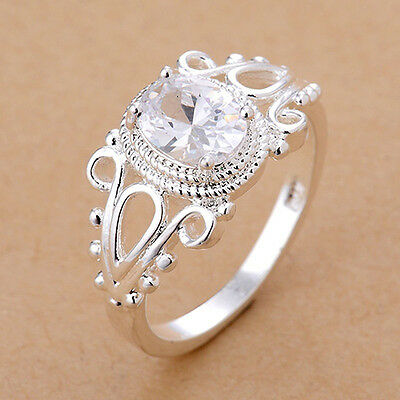 Women's White Gold Plated Oval Zircon Cutout Finger Ring Fashion Jewelry