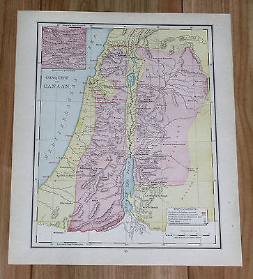 1910 Original Map Of Conquest Of Canaan Palestine Israel Bible Book Of Joshua
