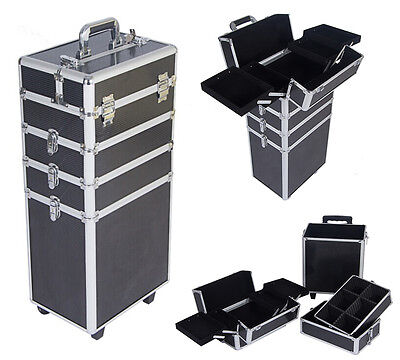 Cosmetic Make Up Trolley Beauty Storage Box 4 in 1 Hairdressing Nail Vanity Case