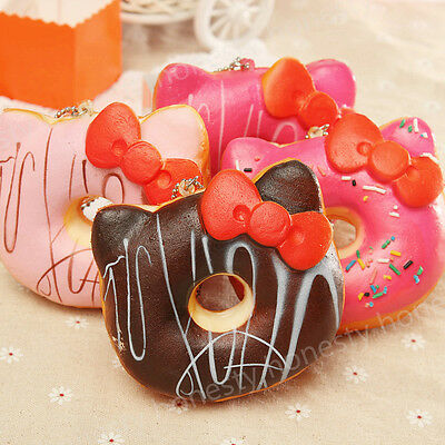 Chic Cute Kitten Bow Soft Squishy Bread Donut Scented Phone Tag Charm Strap New