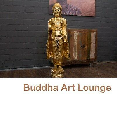 buddha statue stehend gold gro 115cm holz figur skulptur blattgold thailand neu eur 269 00. Black Bedroom Furniture Sets. Home Design Ideas
