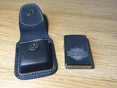 Zippo Lighter Harley Davidson Chrome With Magnetic Pouch