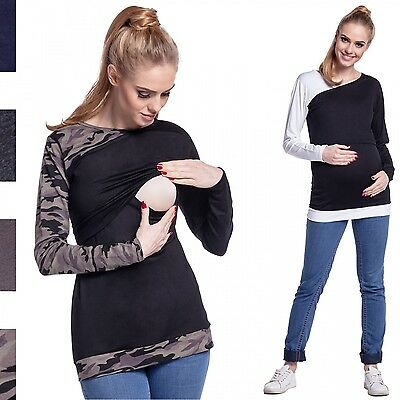 Happy Mama. Women's Maternity Nursing Double Layered Top Contrast Details. 588p