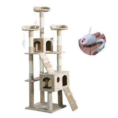 Cat Kitten Scratching Post Tree Scratcher Bed Activity Centre Climbing Toy Brown