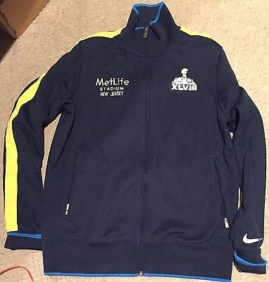 NFL Super Bowl XLVIII 48 New York Crew Nike Track Jacket Met Life Stadium M