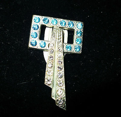 Vintage 1940s Art Deco aqua and clear  rhinestone dress clip / brooch