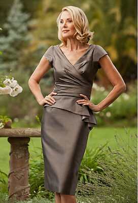 Knee Length Mother of the Bride/Groom Dresses with Short Sleeves Evening Gowns