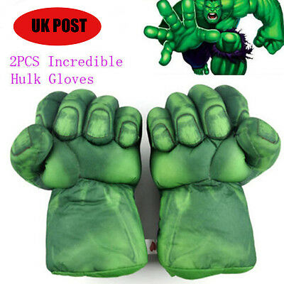 A Pair of Incredible Hulk Smash Hands Plush Punching Boxing fists Gloves UK Ship