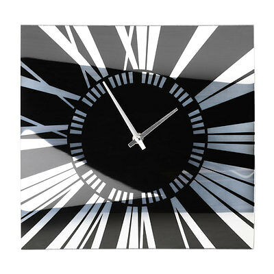 Stylish Curved Glass Square Wall Mountable Clock With Black And Mirror Detail