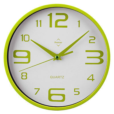 Lime Green And White Plastic Wall Mountable Kitchen Dining Living Room Clock