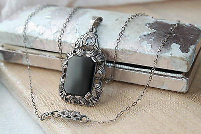 Edwardian Vintage All Sterling Polished Black Jet Pendant Chain Necklace