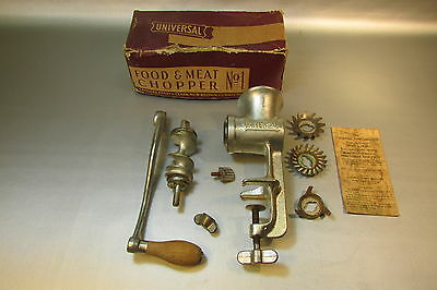 Universal Food & Meat Chopper No. 1 w/ 3 die Orig Box Vintage AND INSTUCTIONS