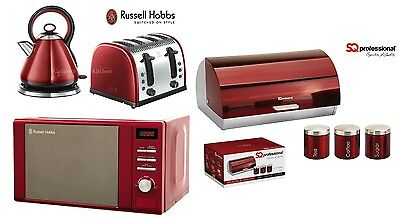 Russell Hobbs Red Microwave Kettle and Toaster & SQ Bread Bin and Canister Set
