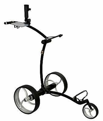 Tour Made RT-630LI Quickfold Lithium Elektro Golftrolley Schwarz Räder silber
