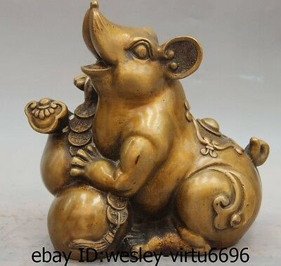 China Folk Bronze Copper Wealth Money Bottle Gourd Ruyi Zodiac Mouse Rat Statue