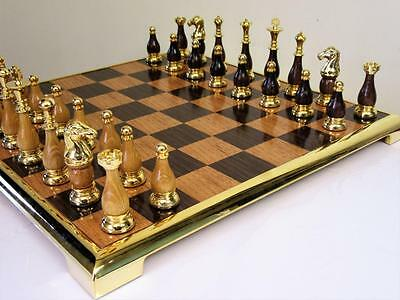 "Vintage -Modern ? Gold Plated Chess Set K 3.5"" + Original Chess Board"