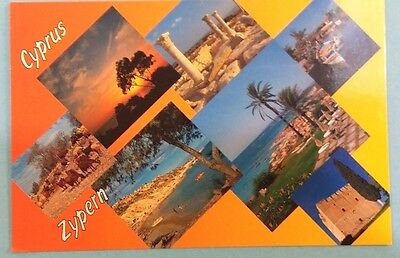 Cyprus postcard: Multiple views of the isand, posted with stamps.
