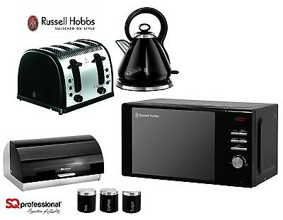 Russell Hobbs Black Microwave Kettle and Toaster & SQ Bread Bin and Canister Set