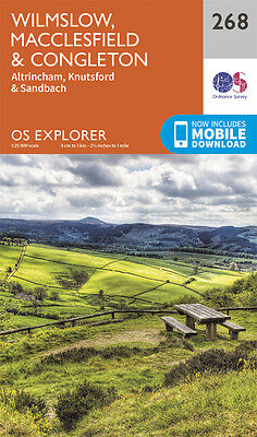 Wilmslow , Macclesfield and Congleton Explorer Map 268 - OS - Ordnance Survey