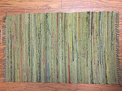 Sturbridge Rag Rug- 2' x 3' - 100% Cotton - color -Khaki