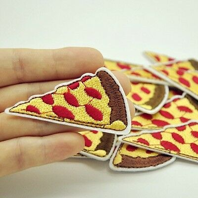 1Pcs Pizza Patch for Clothing Iron On Embroidered Sew Applique Cute Patch Fabric