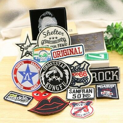 20pcs/lot mixed embroidered logo patch appliques iron on patch Badge Clothes Pat