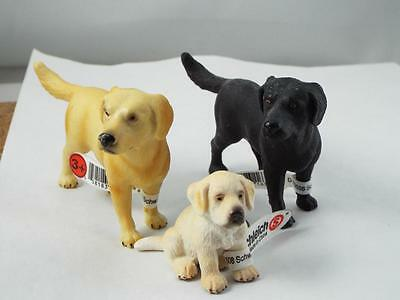 Labrador Retriver One Black, One Tan, With Baby By Schleich    Box 3